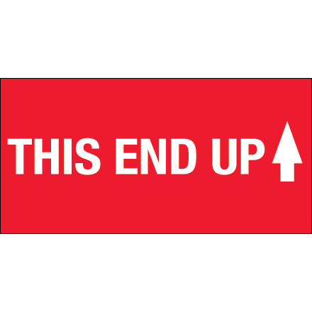 "2 x 4"" - ""This End Up"" (High Gloss) Labels"