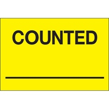 "2 x 3"" - ""Counted ___"" (Fluorescent Yellow) Labels"
