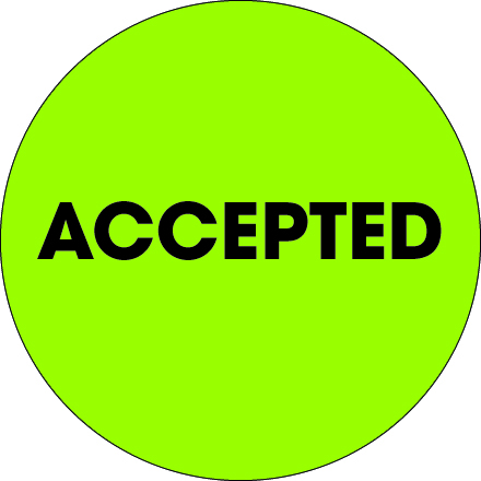 "2"" Circle - ""Accepted"" Fluorescent Green Labels"
