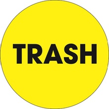 "2"" Circle - ""Trash"" (Fluorescent Yellow) Labels"